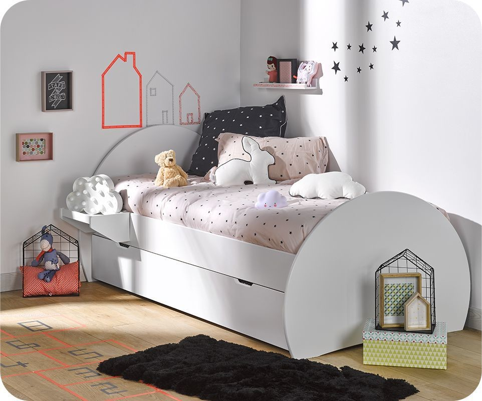 pack lit enfant lune blanc 90x190 cm avec sommier et matelas. Black Bedroom Furniture Sets. Home Design Ideas