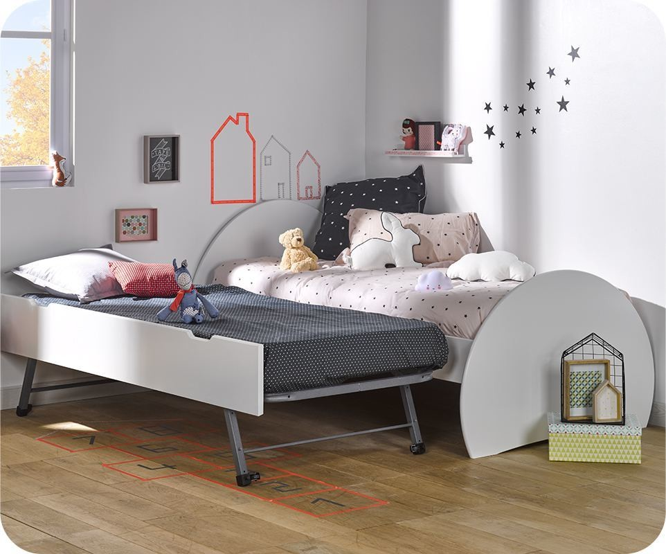 lit enfant gigogne lune blanc 90x190 cm. Black Bedroom Furniture Sets. Home Design Ideas