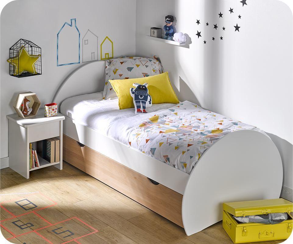 pack lit enfant gigogne lune blanc et h tre 90x190 cm avec matelas. Black Bedroom Furniture Sets. Home Design Ideas