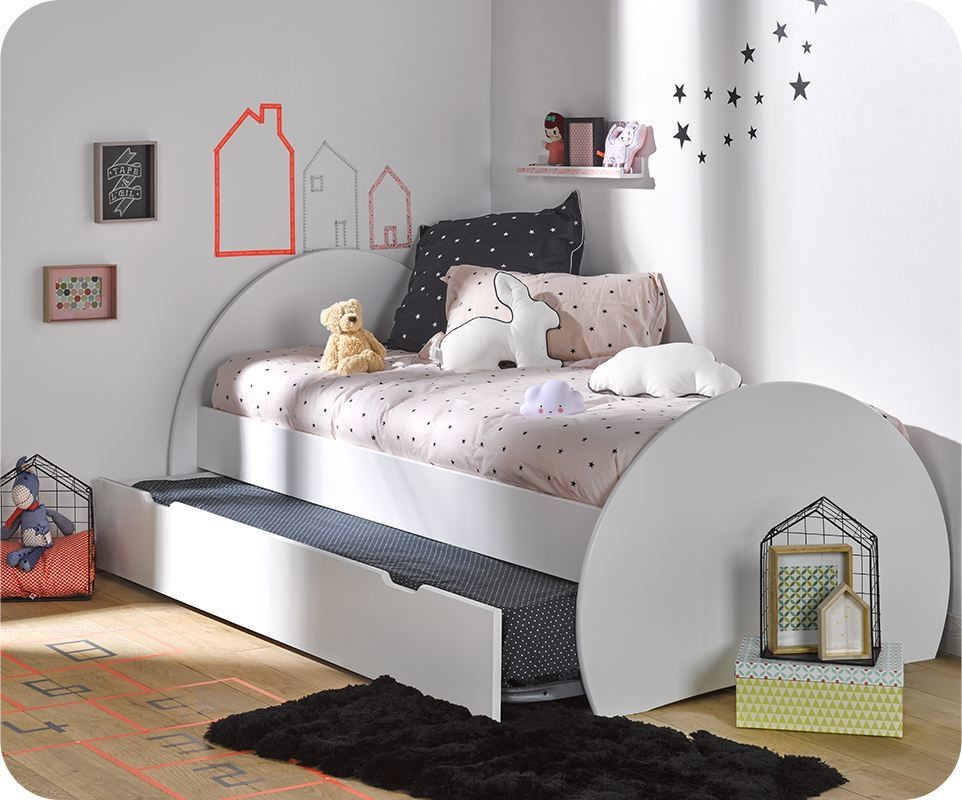 pack lit enfant gigogne lune blanc 90x190 cm avec matelas. Black Bedroom Furniture Sets. Home Design Ideas
