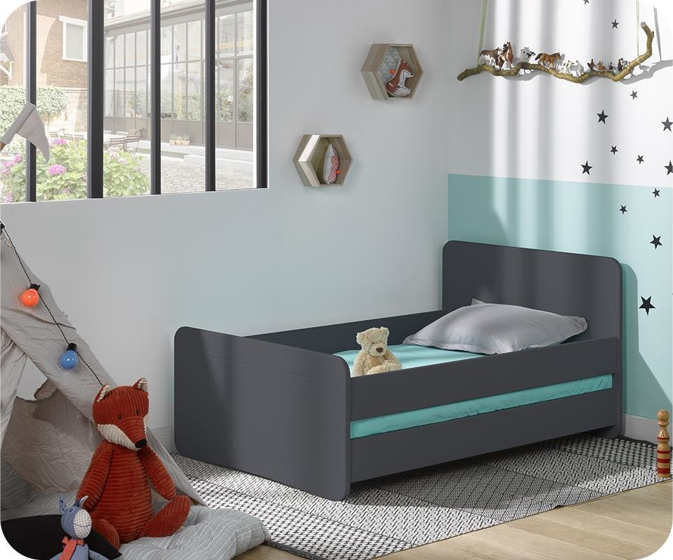 Lit enfant volutif willow gris anthracite - Lit 90x190 avec barriere ...
