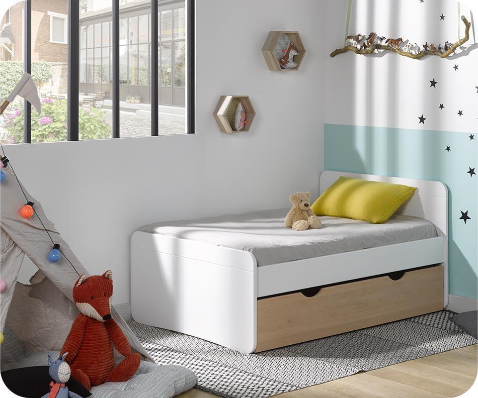 Pack lit enfant Évolutif willow blanc avec tiroir hêtre et matelas