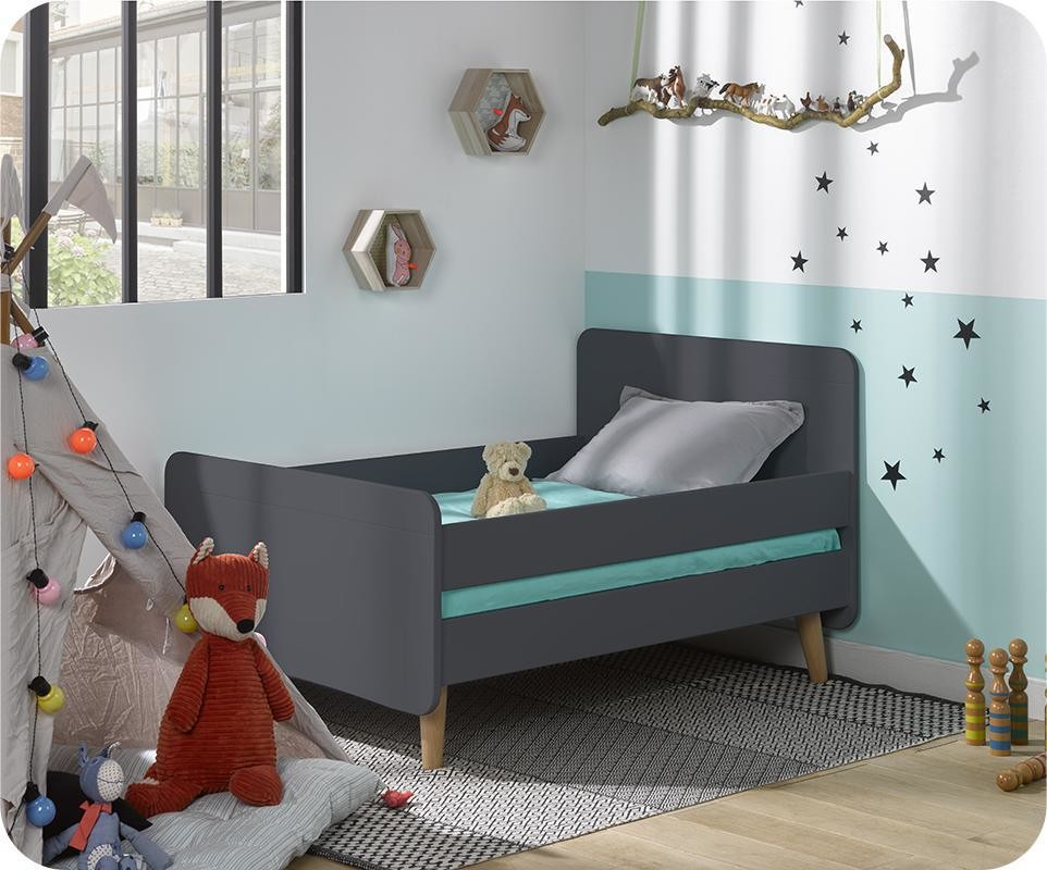 pack lit enfant volutif willow gris anthracite avec pieds et matelas. Black Bedroom Furniture Sets. Home Design Ideas