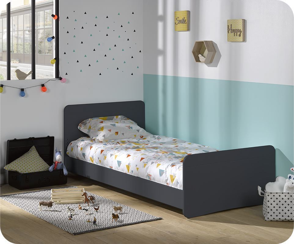lit enfant willow gris anthracite 90x190 cm. Black Bedroom Furniture Sets. Home Design Ideas