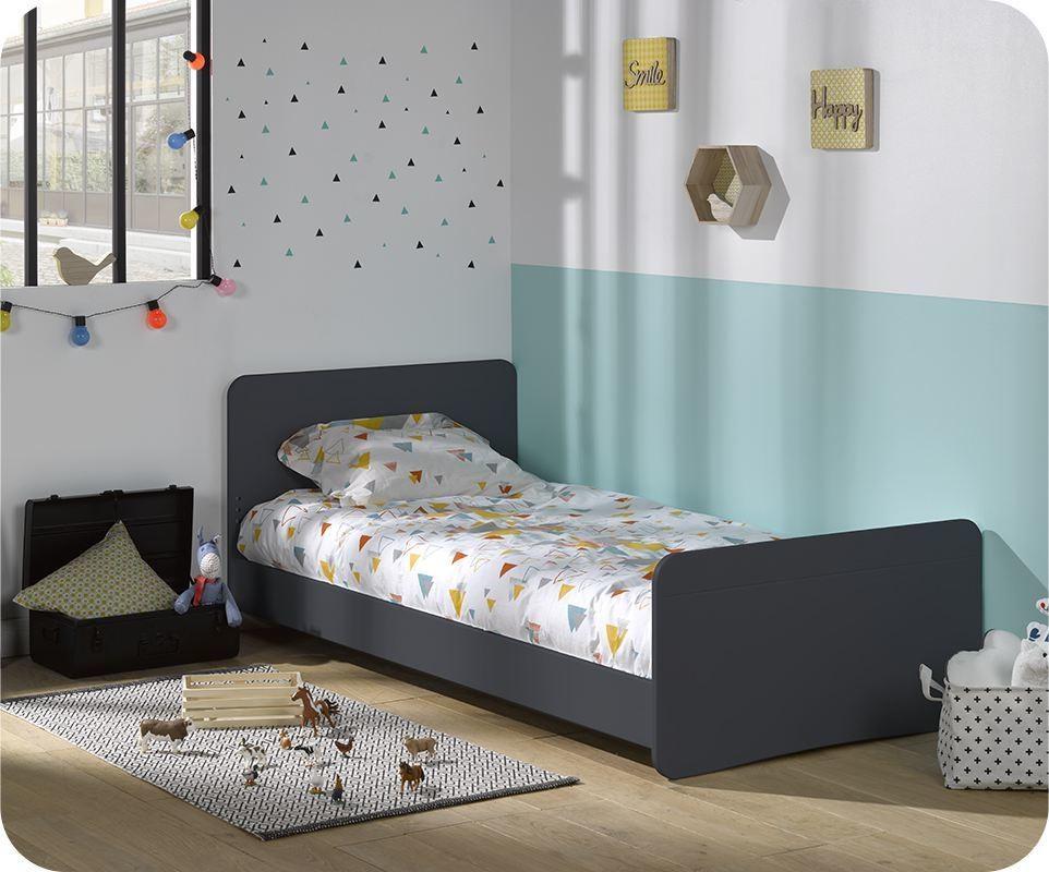 lit enfant willow gris anthracite 90x190 cm avec sommier et matelas. Black Bedroom Furniture Sets. Home Design Ideas