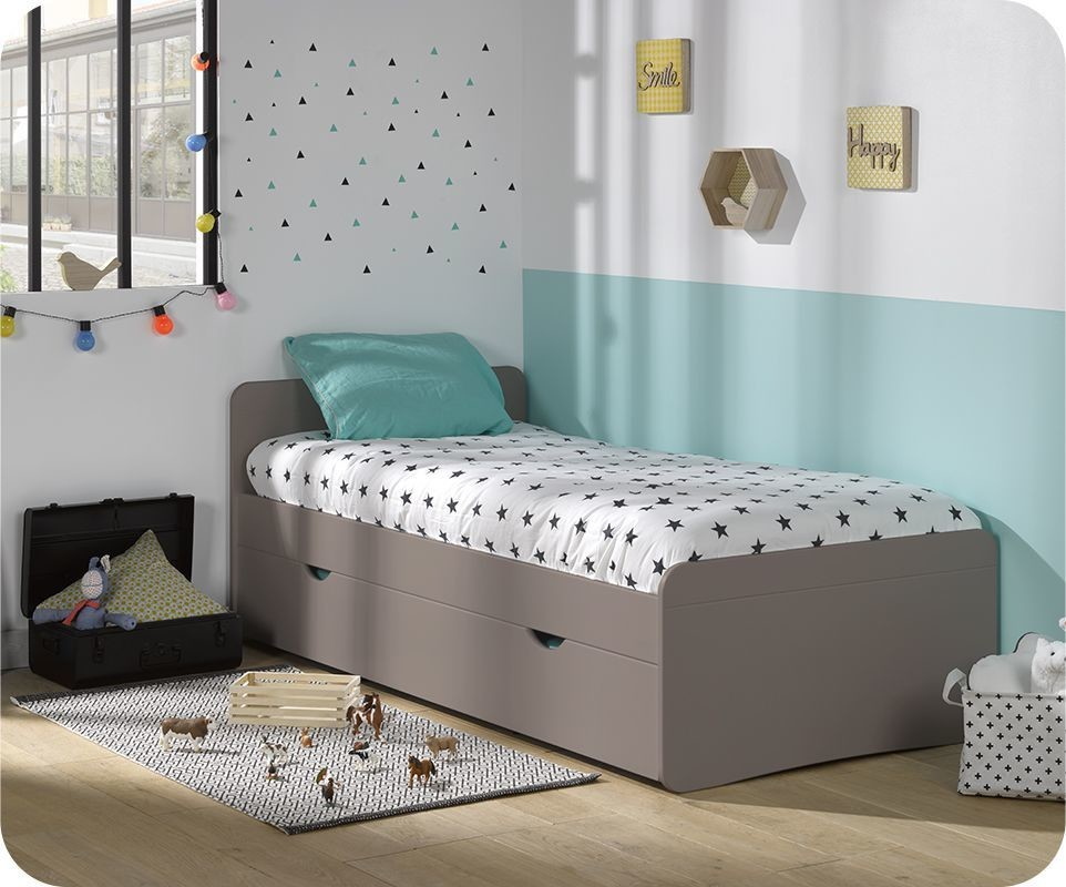 pack lit enfant willow lin 90x190 cm avec sommier et matelas. Black Bedroom Furniture Sets. Home Design Ideas