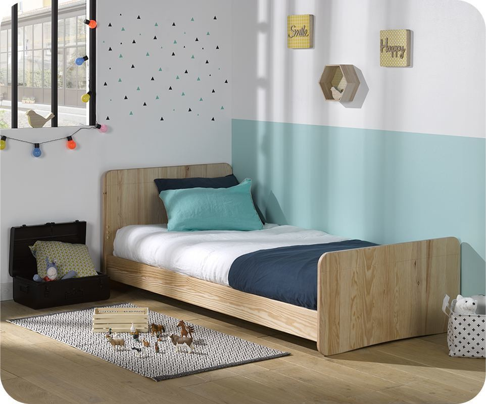 lit enfant willow brut peindre 90x190 cm avec sommier et. Black Bedroom Furniture Sets. Home Design Ideas