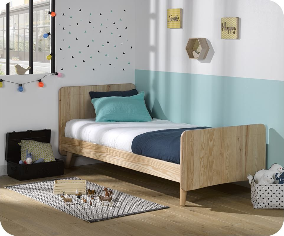 lit enfant willow brut 90x190 cm avec pieds sommier et matelas. Black Bedroom Furniture Sets. Home Design Ideas