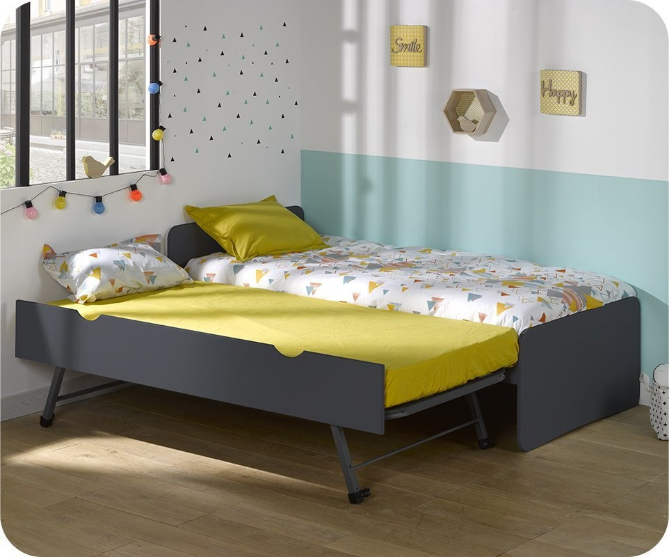 lit enfant gigogne willow gris anthracite 90x190 cm. Black Bedroom Furniture Sets. Home Design Ideas