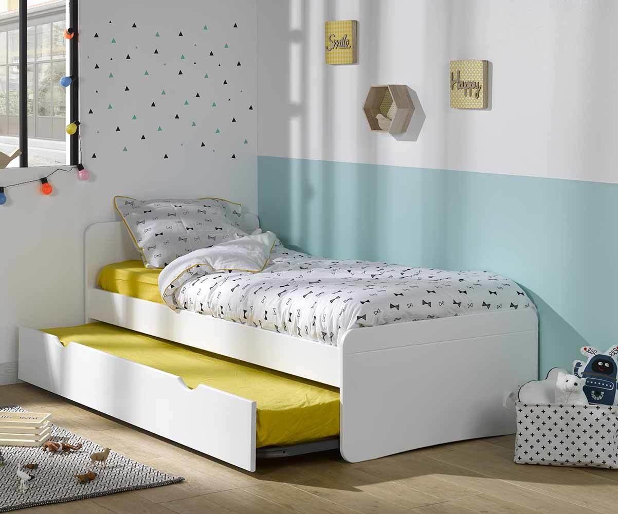 pack lit enfant gigogne willow blanc 90x190 cm avec matelas. Black Bedroom Furniture Sets. Home Design Ideas