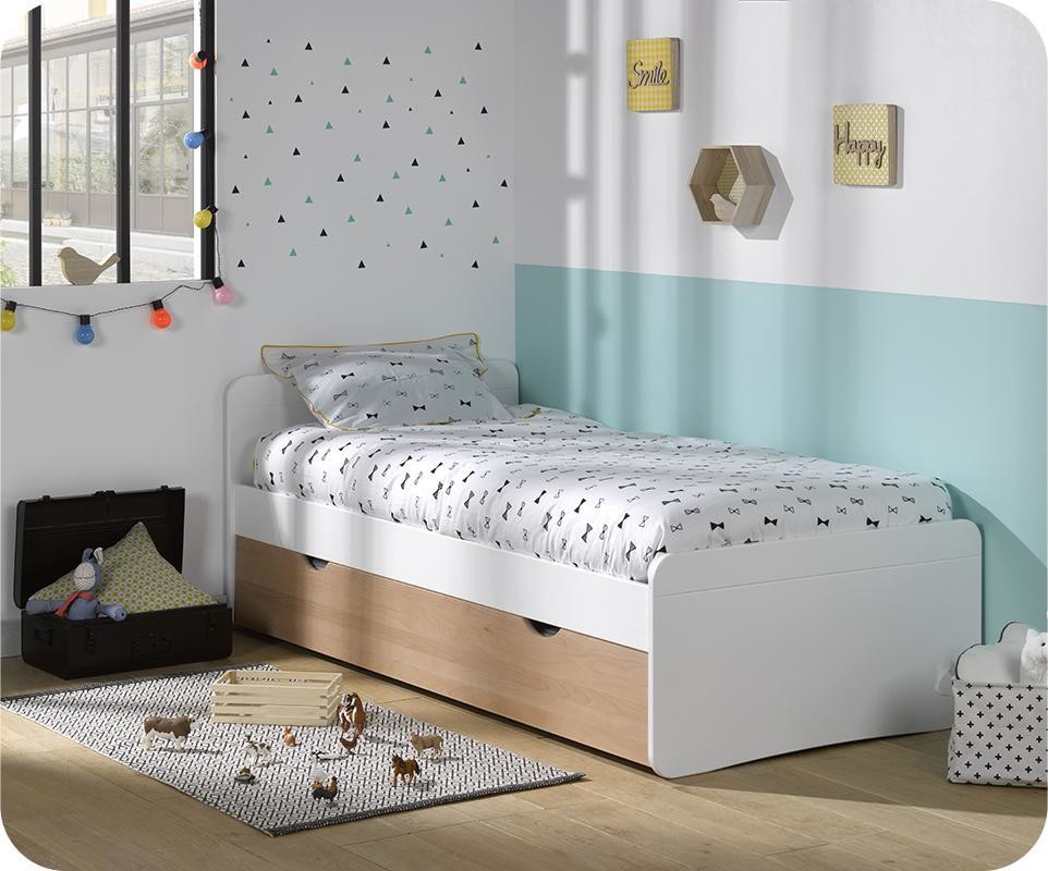 pack lit enfant gigogne willow blanc et h tre 90x190 cm avec matelas. Black Bedroom Furniture Sets. Home Design Ideas