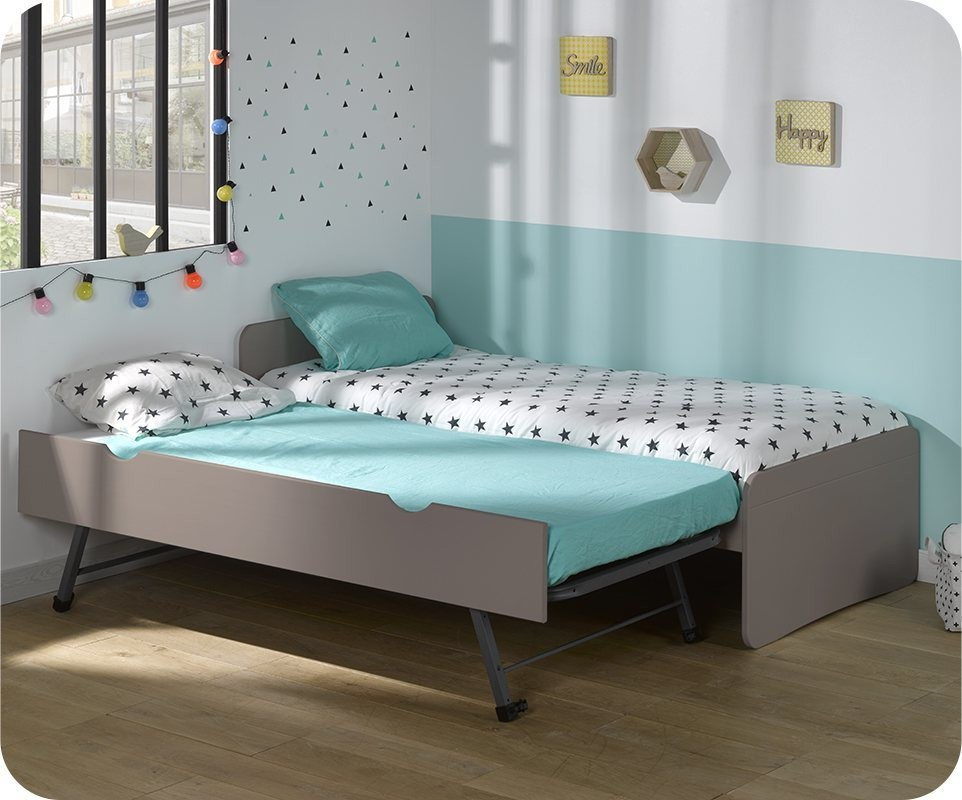 pack lit enfant gigogne willow lin 90x190 cm avec matelas. Black Bedroom Furniture Sets. Home Design Ideas