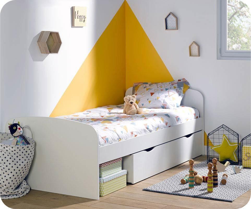 lit enfant 90x190 cm oaki blanc avec tiroir et matelas - Lit Enfant Avec Tiroir