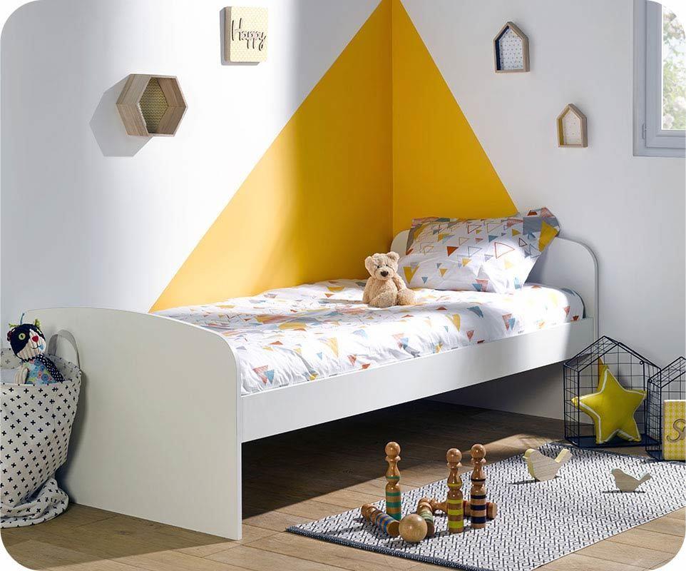 lit enfant evolutif oaki blanc et ch ne gris avec tiroir et matelas. Black Bedroom Furniture Sets. Home Design Ideas