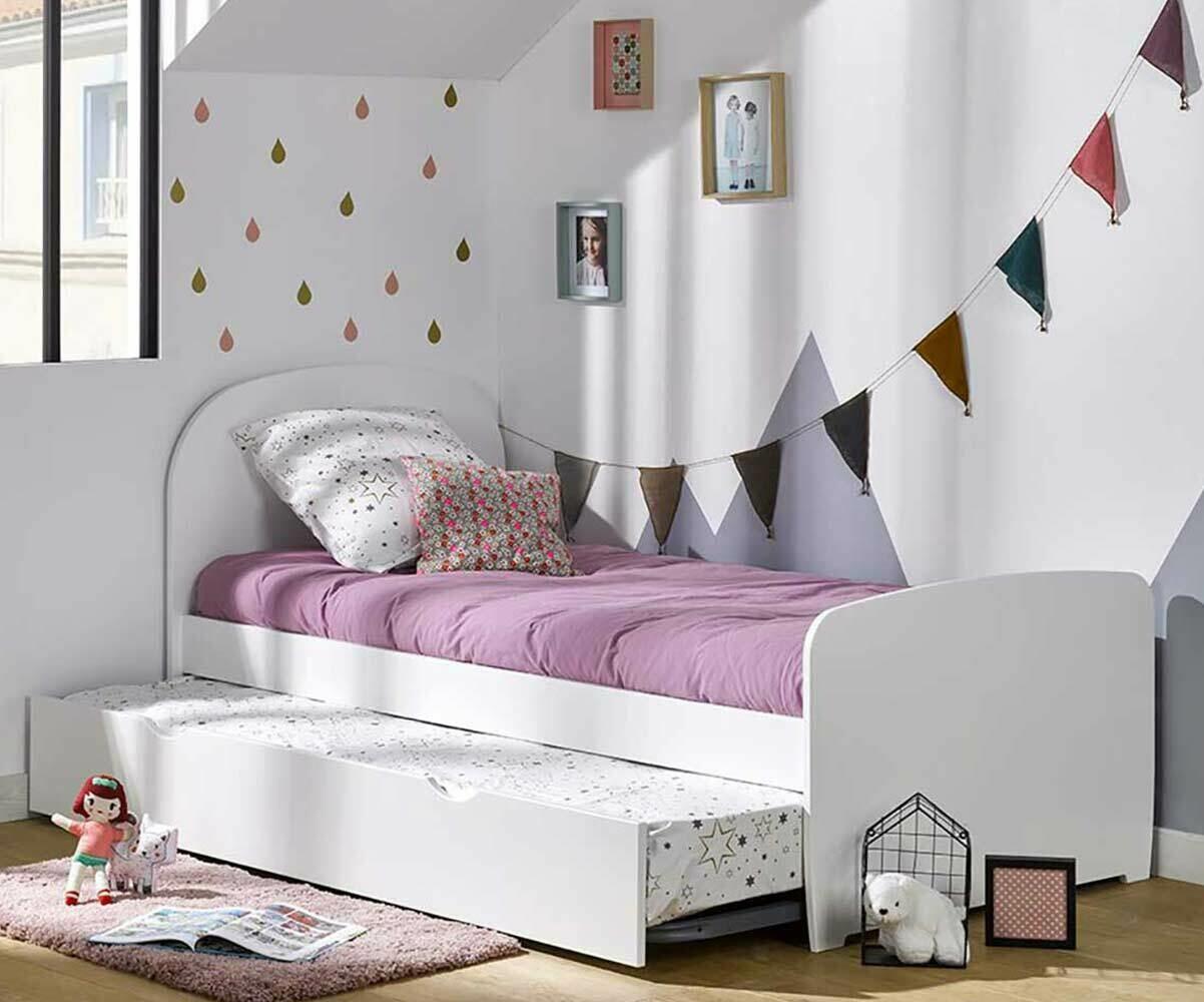 pack lit enfant gigogne luen blanc 90x190 cm avec matelas. Black Bedroom Furniture Sets. Home Design Ideas