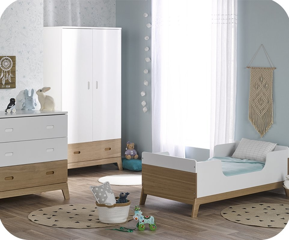 chambre b b compl te aloa blanche et bois. Black Bedroom Furniture Sets. Home Design Ideas
