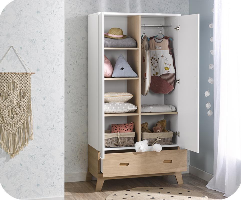 armoire enfant aloa blanche et bois. Black Bedroom Furniture Sets. Home Design Ideas