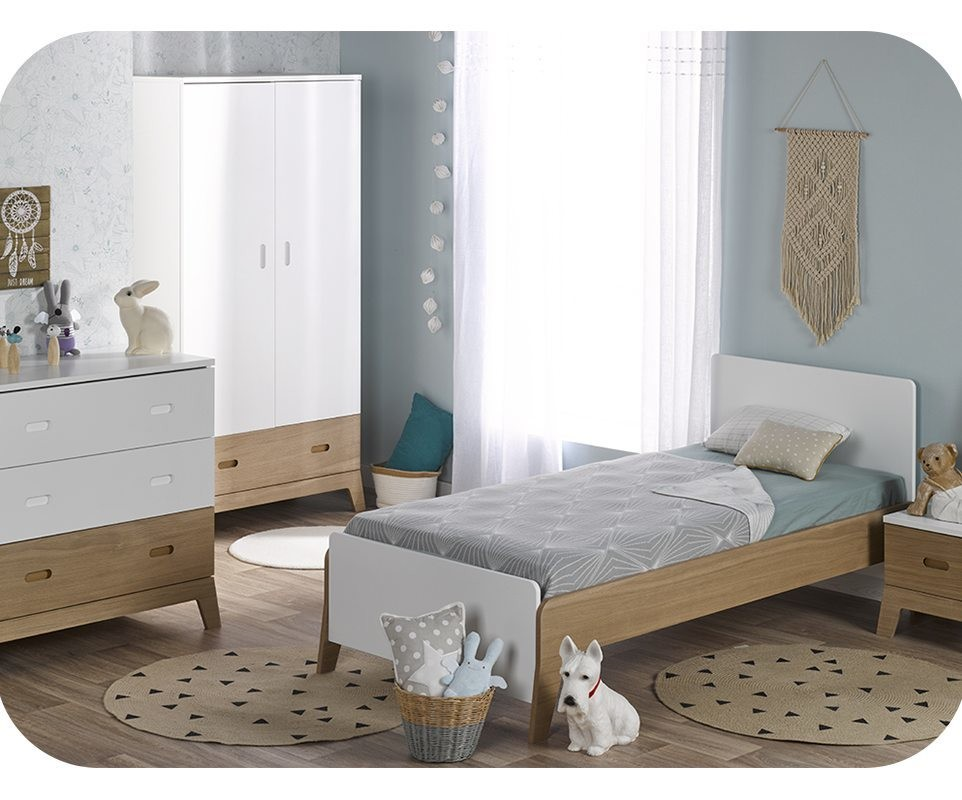 chambre enfant aloa blanche et bois set de 4 meubles. Black Bedroom Furniture Sets. Home Design Ideas