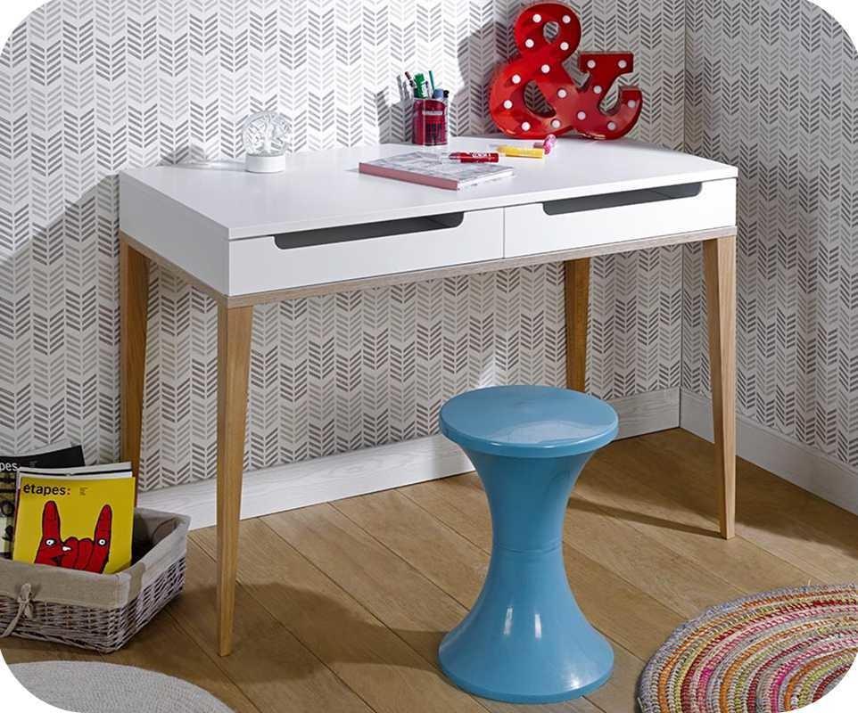 Bureau enfant riga blanc et bois avec tiroirs