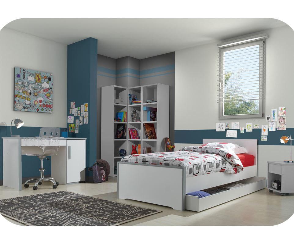 Tiroir de lit enfant tim o blanc et gris 90x200 cm - Chambre timeo ...