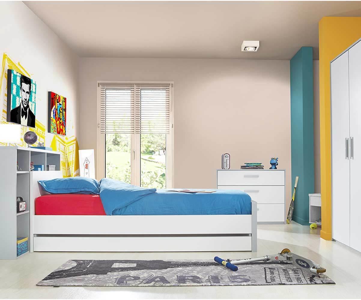 Chambre enfant tim o blanche et grise set de 5 meubles - Chambre timeo ...