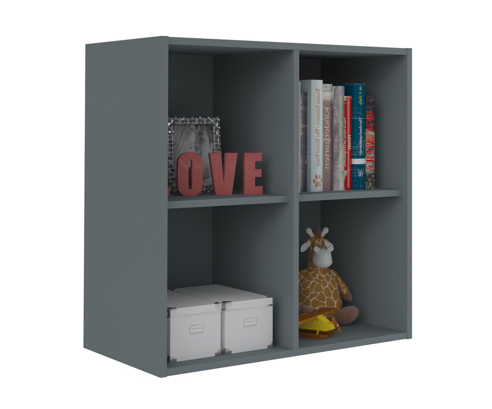 Meuble de rangements moov 4 cases gris anthracite for Meuble 4 cases but