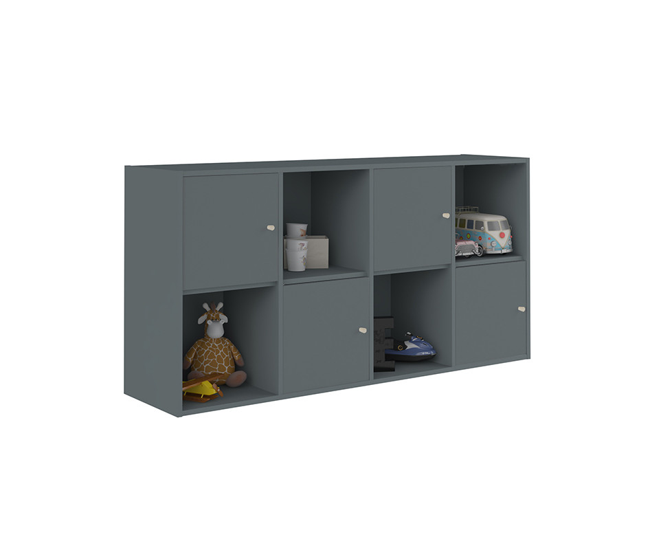 meuble de rangements moov 8 cases gris anthracite. Black Bedroom Furniture Sets. Home Design Ideas