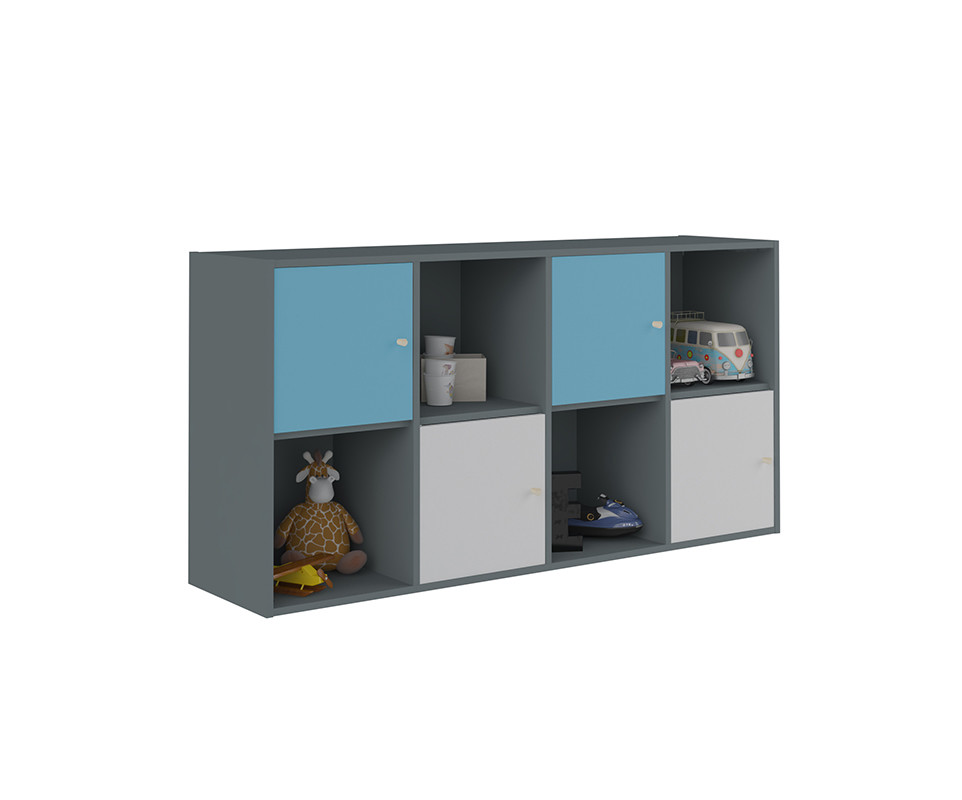 Meuble de rangements moov 8 cases gris anthracite for Meuble cube 8 cases