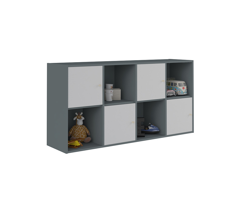 meuble de rangements moov 8 cases gris anthracite. Black Bedroom Furniture Sets. Home Design Ideas