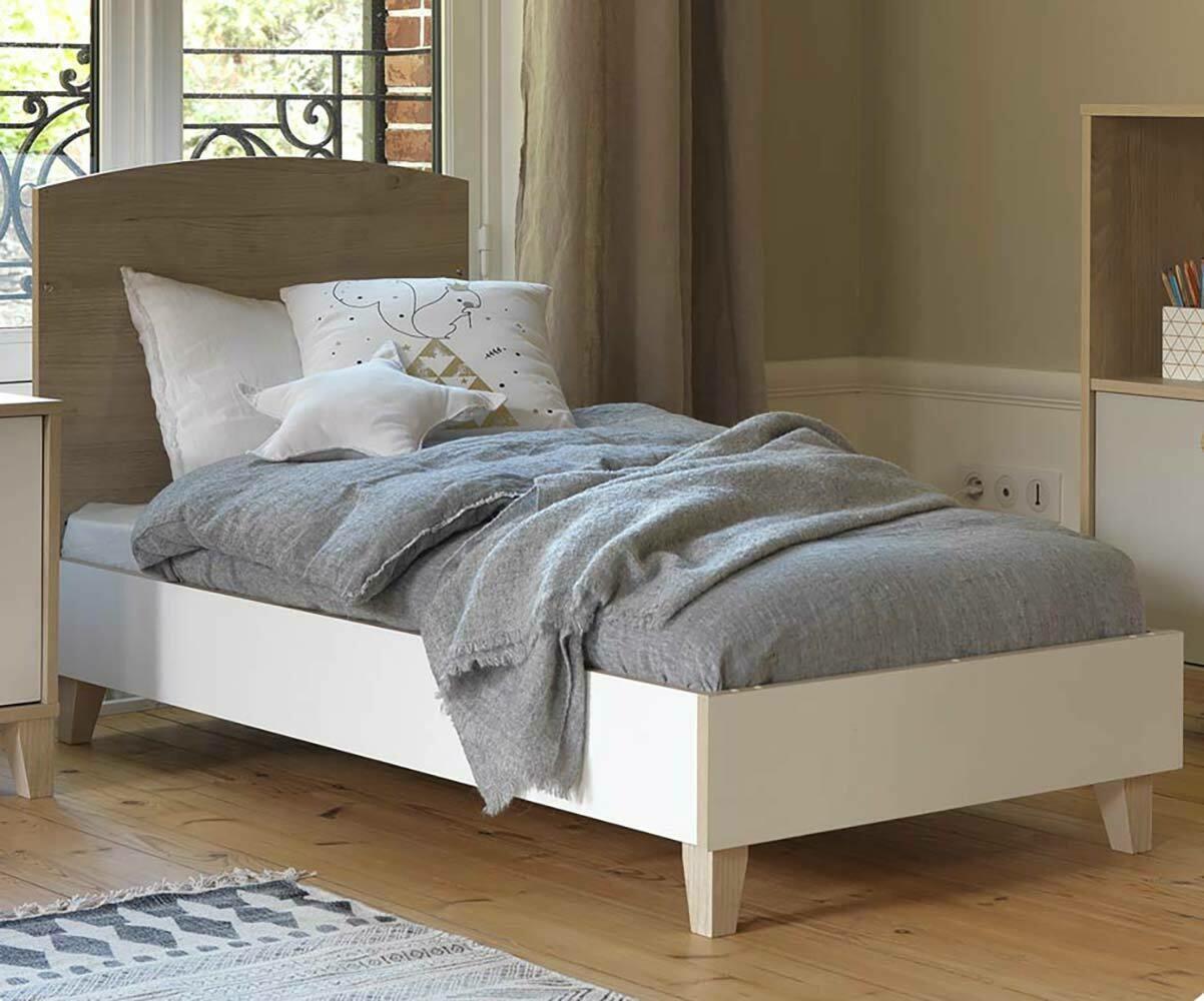 lit b b volutif perle blanc et bois avec matelas. Black Bedroom Furniture Sets. Home Design Ideas