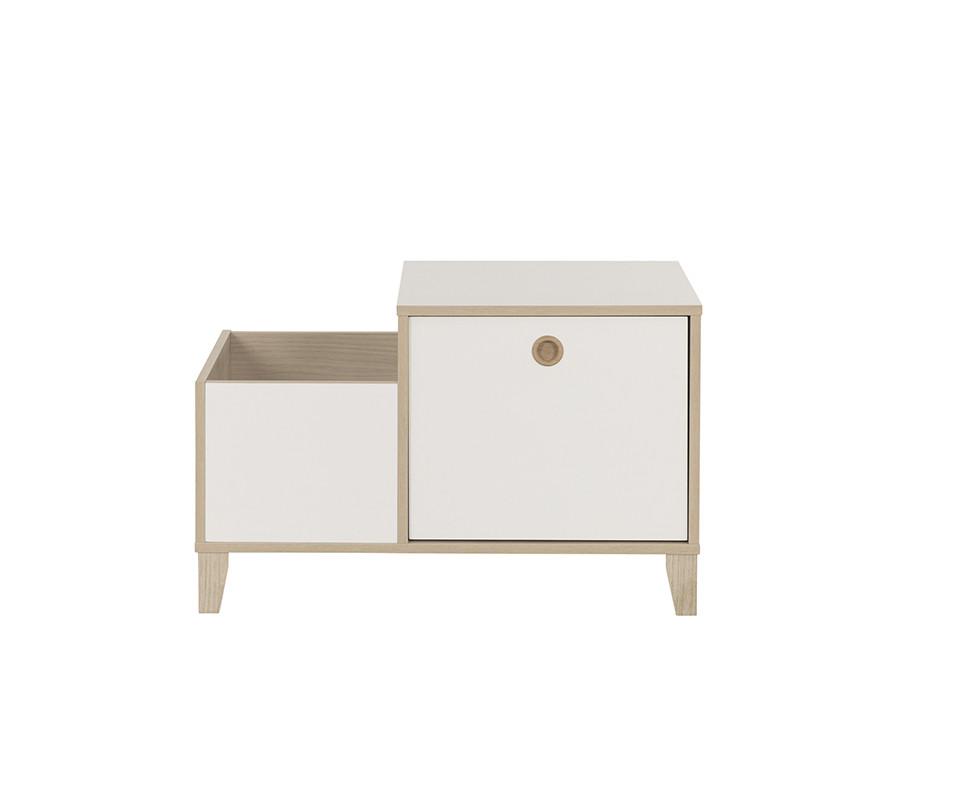 coffre de rangement perle blanc et bois. Black Bedroom Furniture Sets. Home Design Ideas