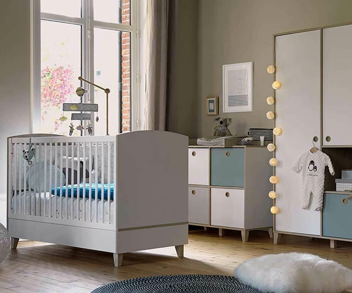 Chambre bébé Perle, avec kit évolutif en petit lit enfant