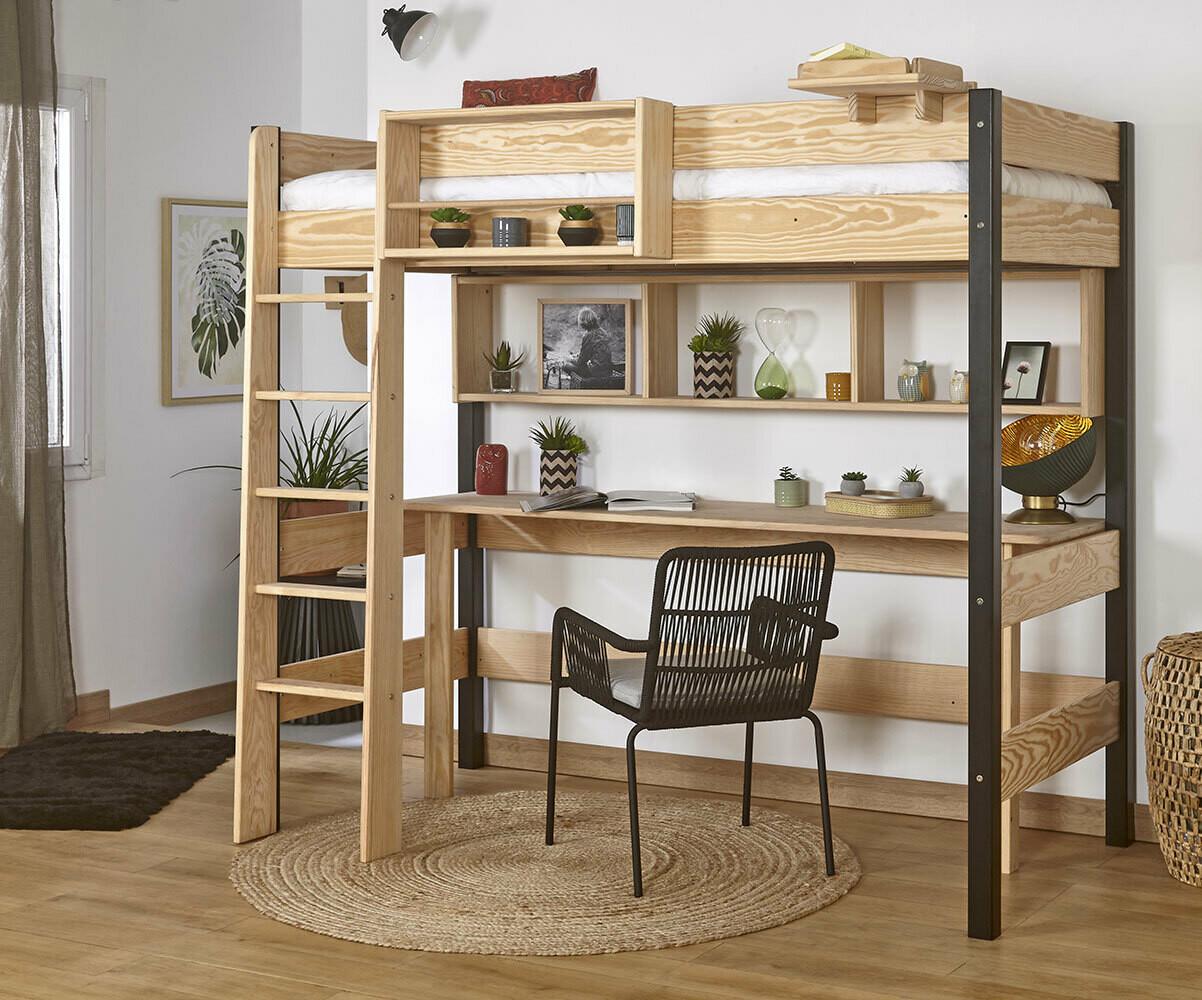 Relooker Une Piece Bureau lit mezzanine adulte avec bureau - clay