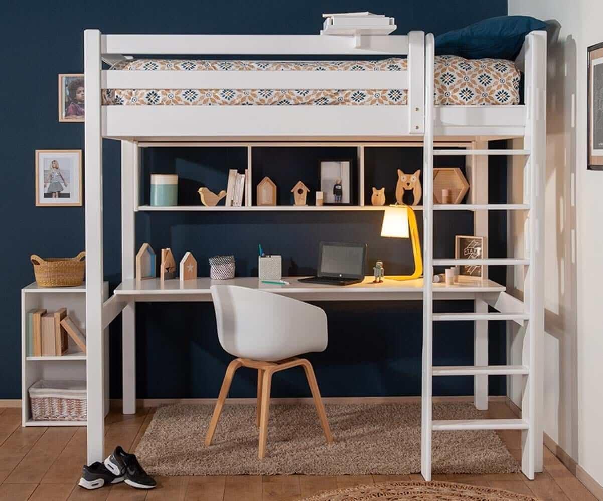 Lit Mezzanine Pour Studio Etudiant Mobilier En Bois Pour Chambre Ado