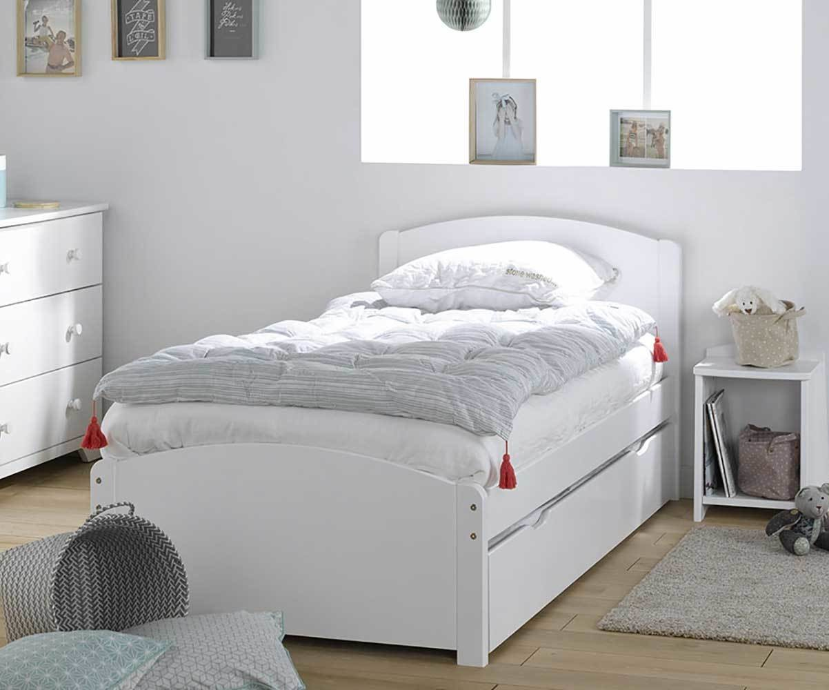 lit enfant nature blanc 90x190 cm. Black Bedroom Furniture Sets. Home Design Ideas