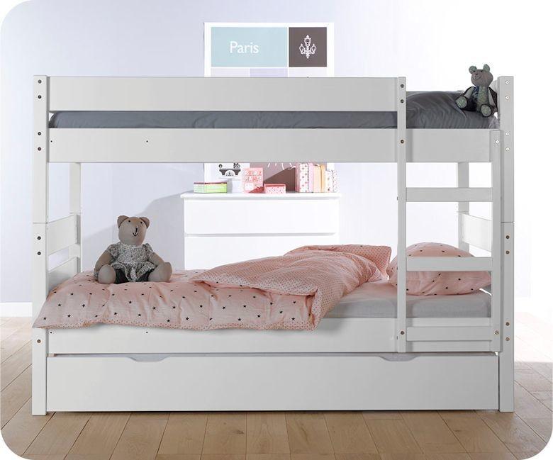 Pack lit superpos enfant 1 2 3 blanc 90x190 cm avec 2 matelas - Lit superpose avec matelas ...