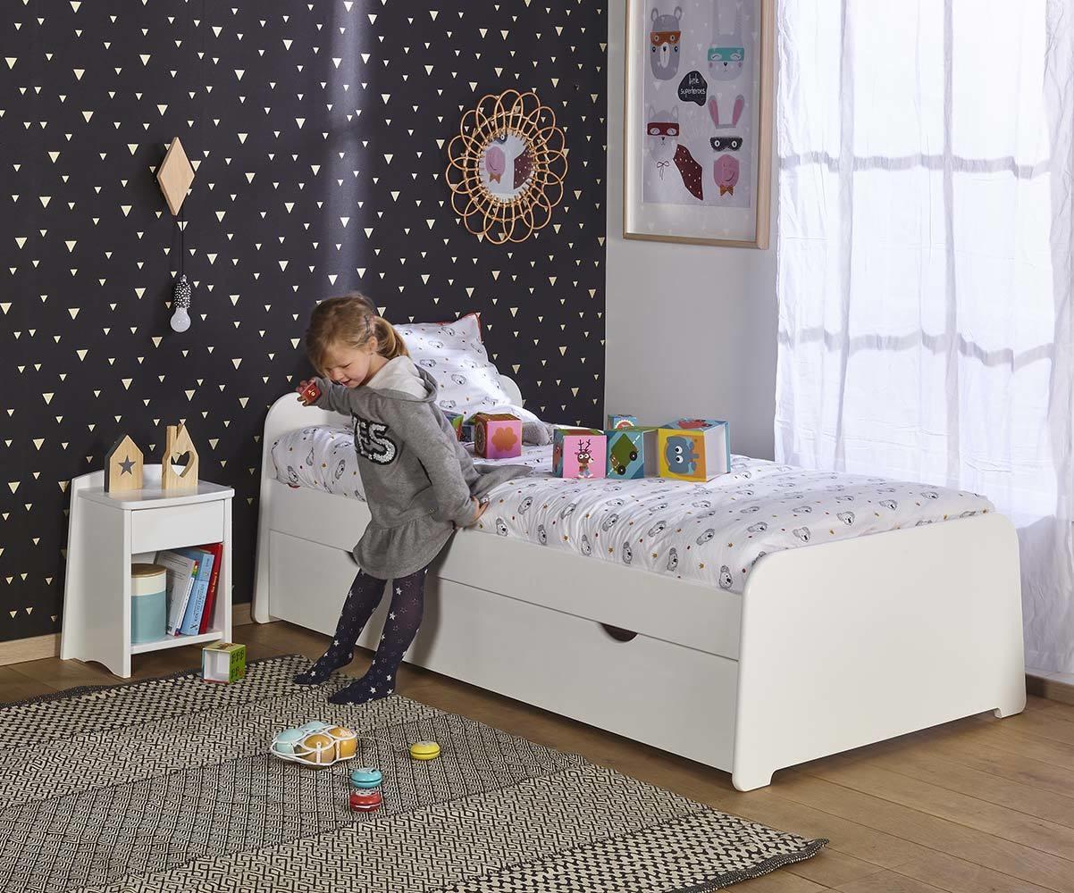 Lit enfant gigogne eden blanc 90x200 cm for Lit gigogne