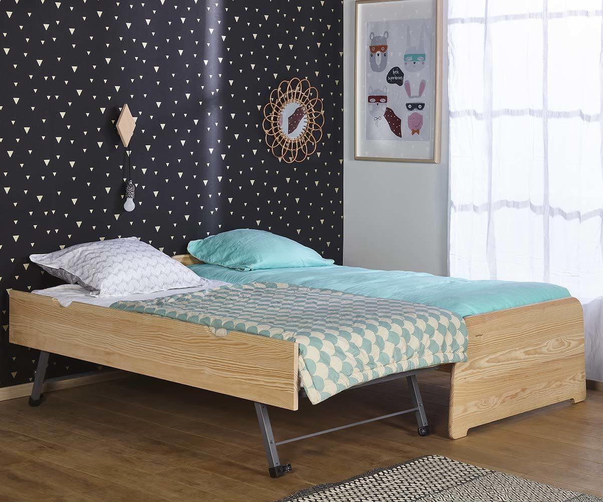 pack lit enfant gigogne eden blanc 90x200 cm avec 2 matelas. Black Bedroom Furniture Sets. Home Design Ideas