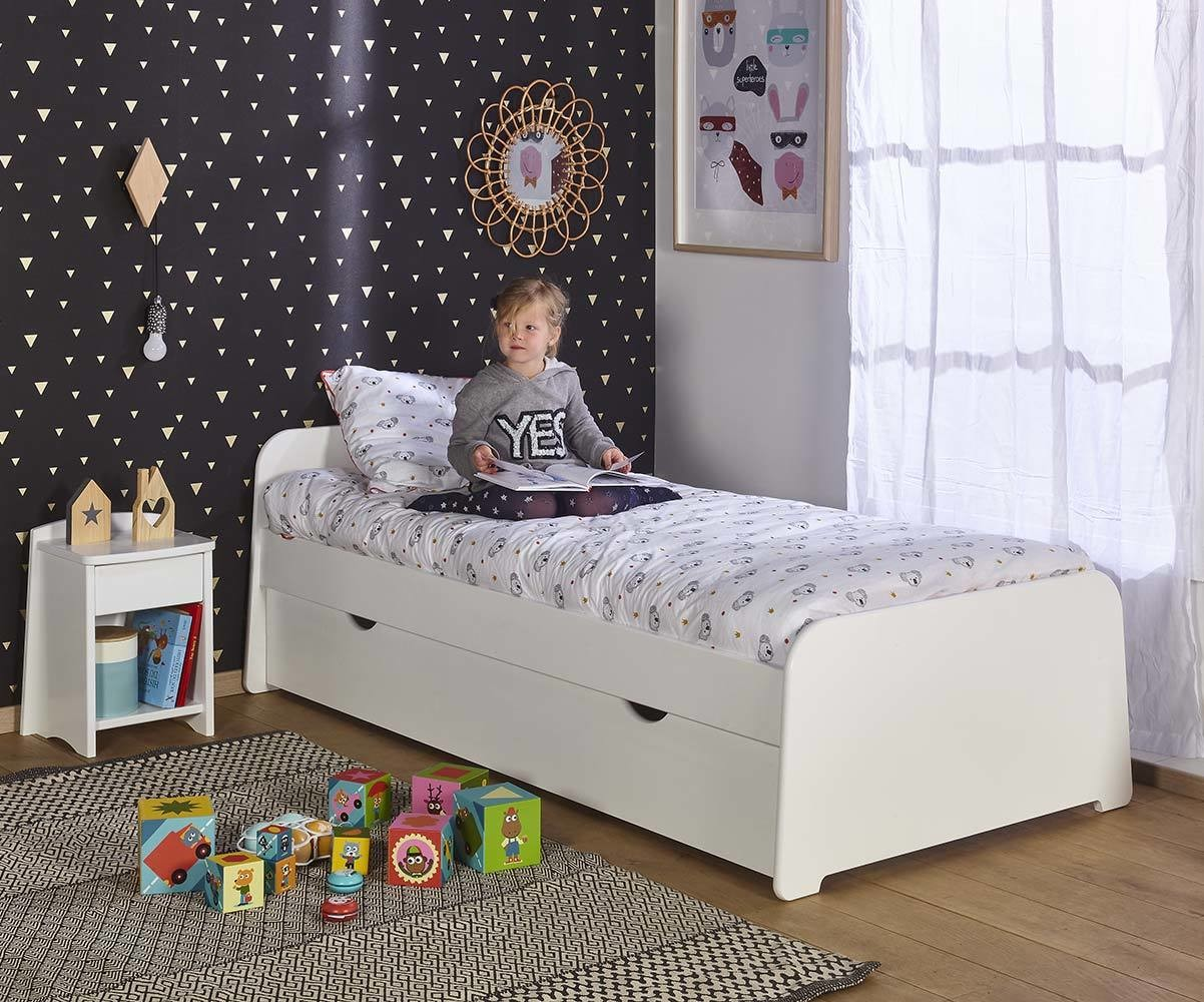 pack lit enfant gigogne eden blanc 90x200 cm avec 2 matelas. Black Bedroom Furniture Sets. Home Design Ideas