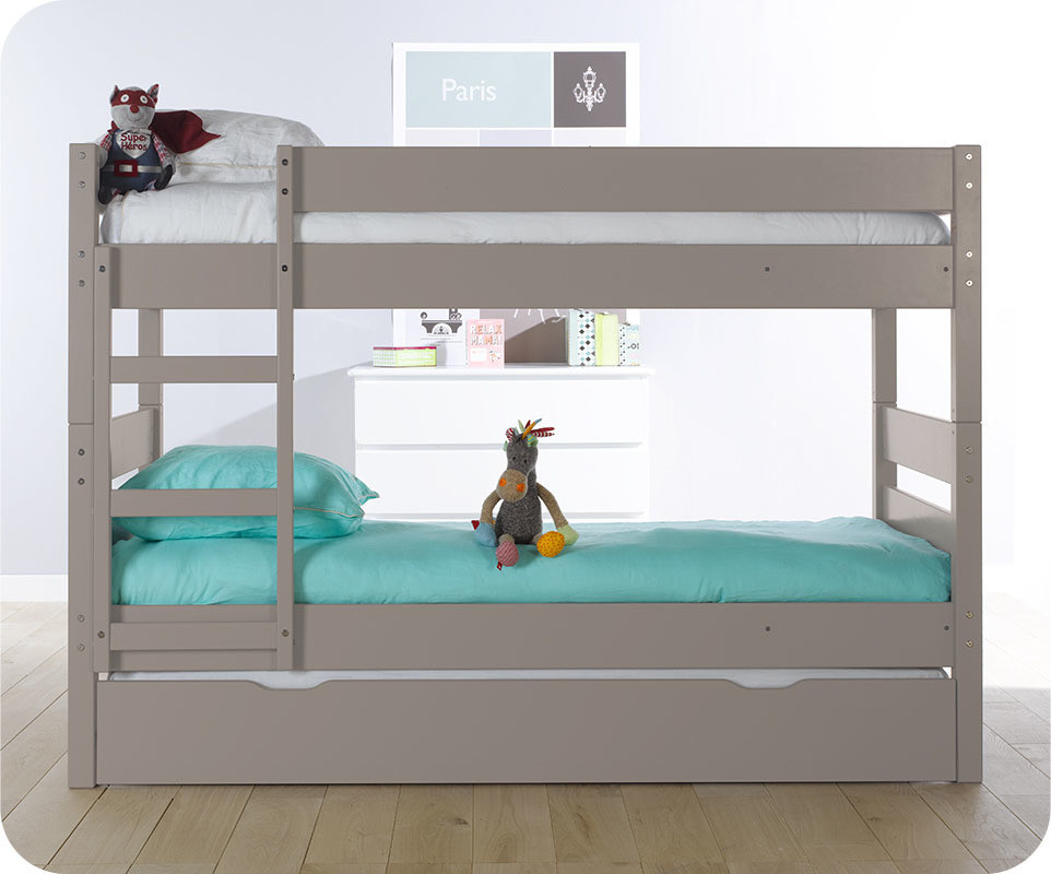 pack lit superpos enfant 1 2 3 lin 90x190 cm avec 2 matelas. Black Bedroom Furniture Sets. Home Design Ideas