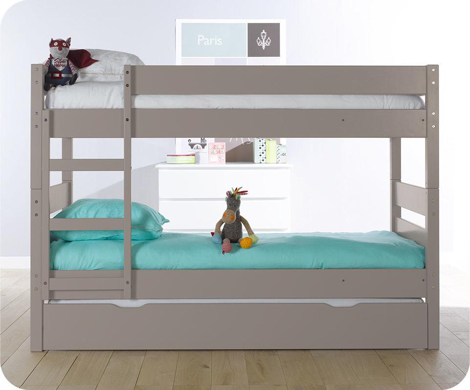 Pack lit superpos enfant 1 2 3 lin 90x190 cm avec 2 matelas - Lit superpose avec matelas ...