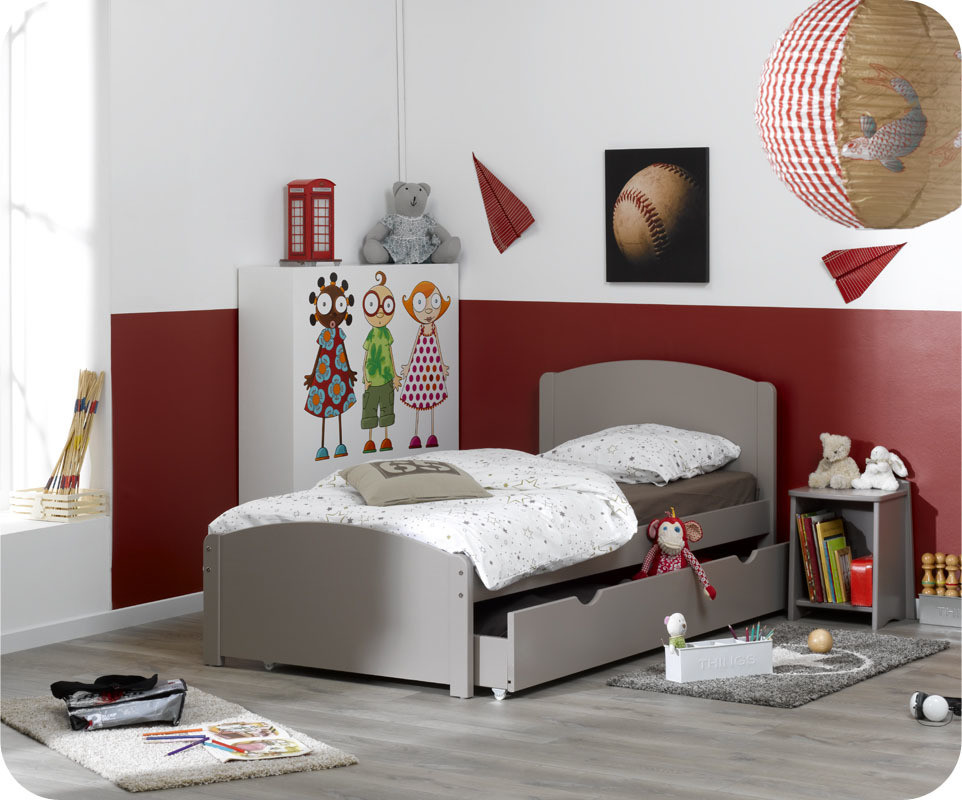 pack lit enfant nature lin 90x190 cm avec sommier et matelas. Black Bedroom Furniture Sets. Home Design Ideas