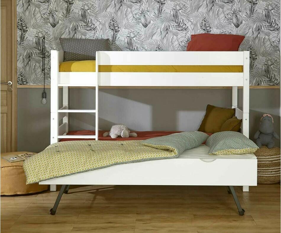 lit superpos enfant 1 2 3 coloris blanc avec sommier gigogne. Black Bedroom Furniture Sets. Home Design Ideas