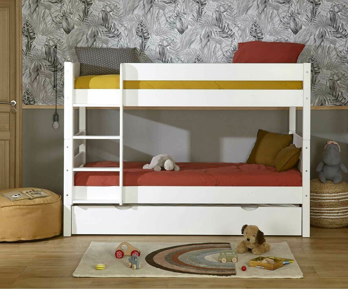 lit superpos enfant 1 2 3 coloris blanc avec sommier gigogne. Black Bedroom Furniture Sets. Home Design Ideas