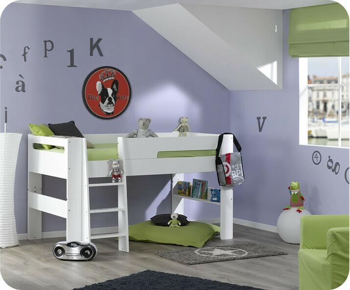 lit mi hauteur enfant wax blanc 90x190 cm. Black Bedroom Furniture Sets. Home Design Ideas