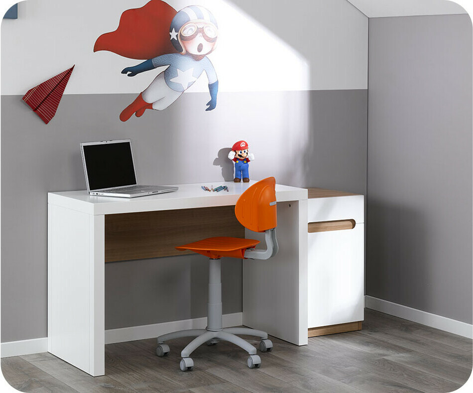 bureau enfant bow blanc com. Black Bedroom Furniture Sets. Home Design Ideas