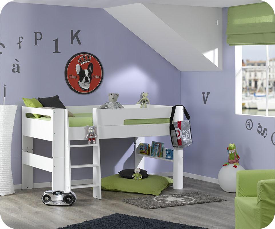 pack lit mi hauteur enfant wax blanc 90x190 cm avec matelas. Black Bedroom Furniture Sets. Home Design Ideas
