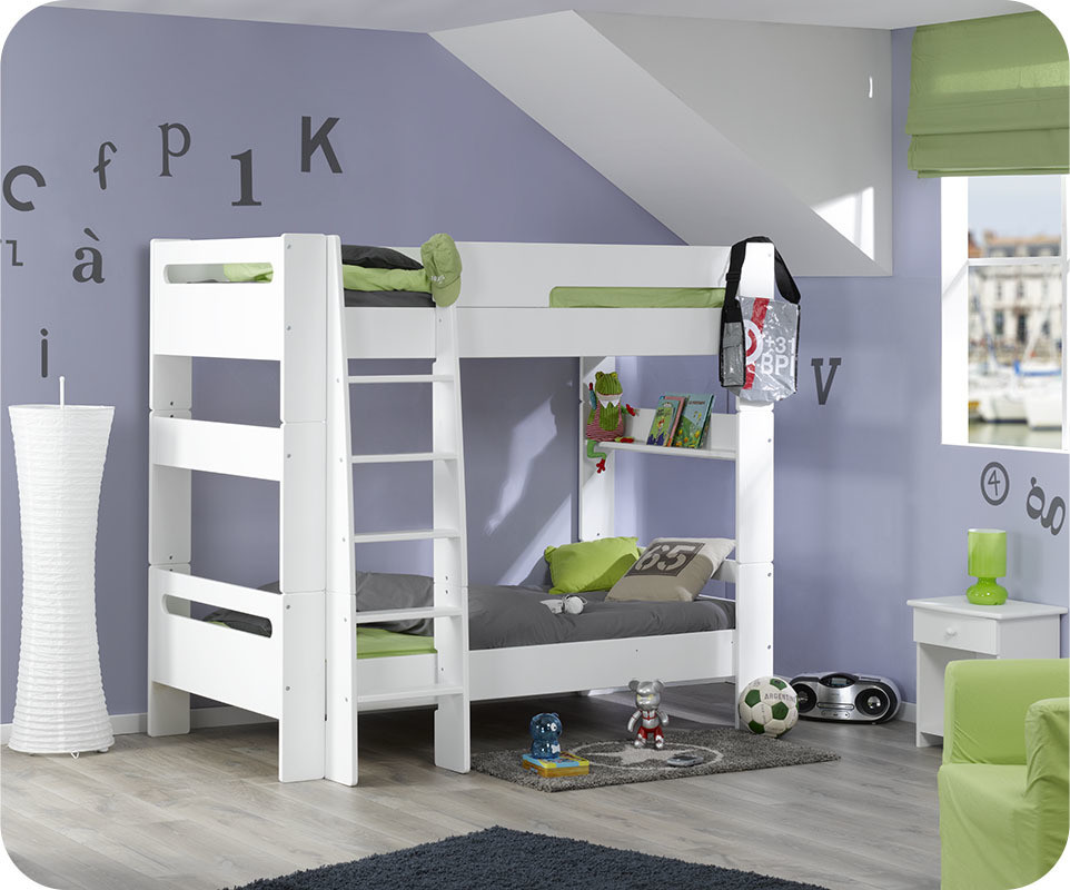 pack lit superpos enfant wax blanc 90x190 cm avec 2 matelas. Black Bedroom Furniture Sets. Home Design Ideas