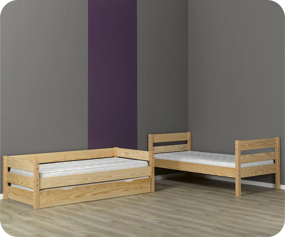 lit superpos enfant 1 2 3 brut 90x190 cm avec sommier gigogne. Black Bedroom Furniture Sets. Home Design Ideas
