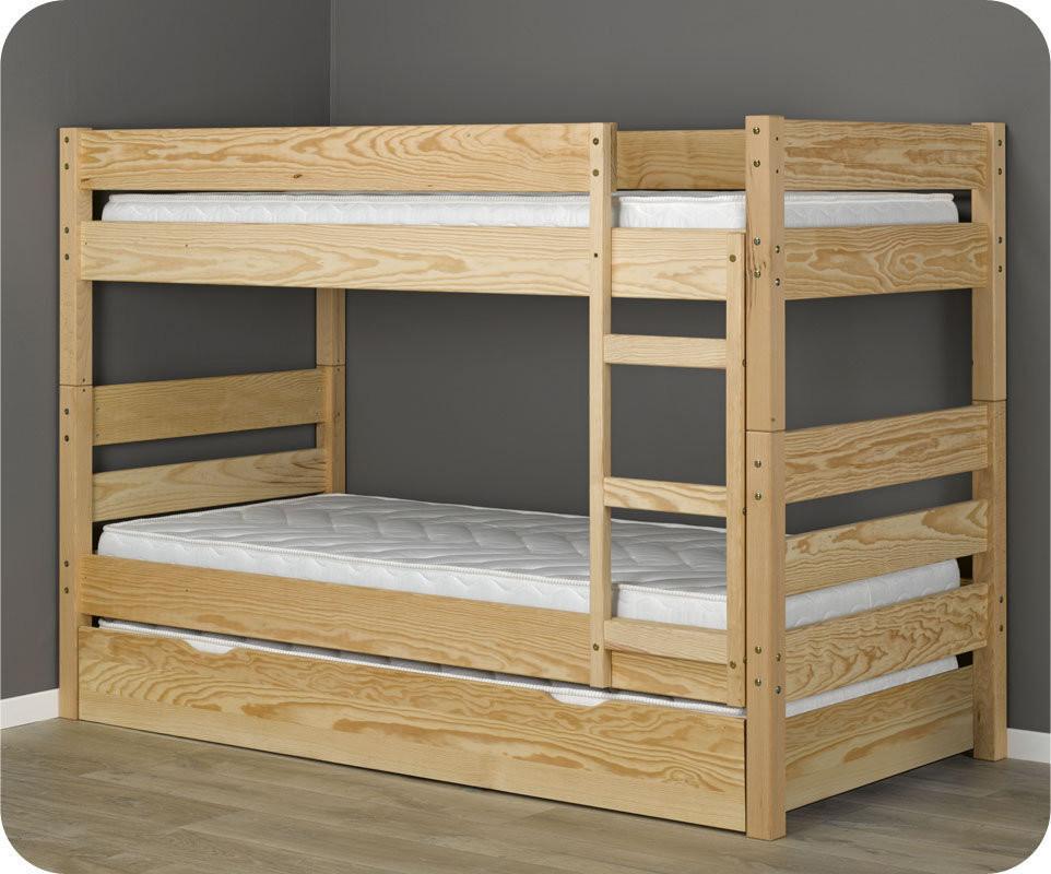 Lit superpos enfant 1 2 3 brut 90x190 cm avec sommier gigogne - Lit superpose avec lit gigogne ...